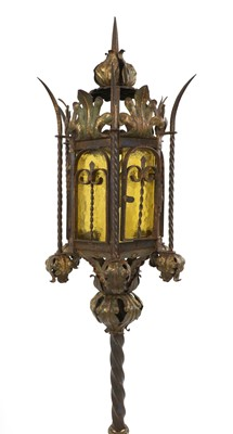 Lot 77 - A Gothic Revival gilt and painted standard lantern