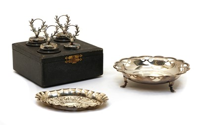 Lot 25 - A cased set of four silver menu holders