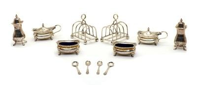 Lot 2 - A six piece silver cruet set