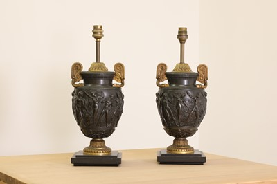 Lot 51 - A pair of gilt and patinated bronze Townley vase table lamps