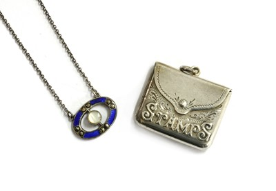 Lot 13 - A sterling silver mother-of-pearl, enamel and marcasite pendant, by Charles Horner