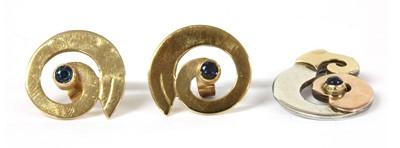 Lot 108 - A pair of 9ct gold sapphire set swirl earrings, by Harry Orkin