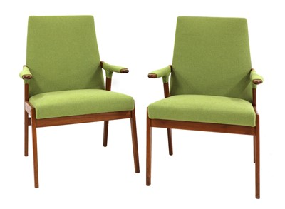 Lot 467 - A pair of teak armchairs