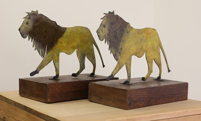 Lot 26 - A pair of painted folk art lions