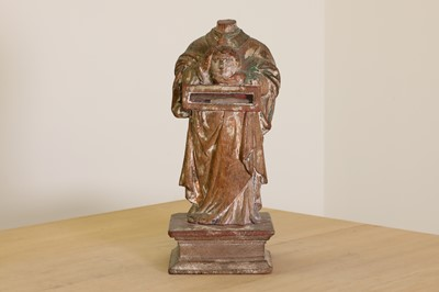 Lot 395 - A carved wood reliquary figure of St Denis the Martyr