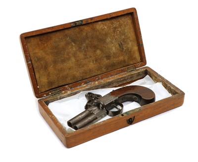 Lot 45 - A flintlock db over and under tap action pocket pistol