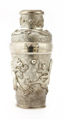 Lot 159 - A Chinese export silver cocktail shaker