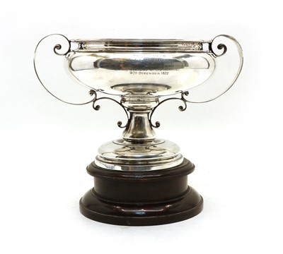 Lot 2 - A silver twin handled presentation cup