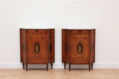 Lot 70 - A pair of George III satinwood and crossbanded pier cabinets