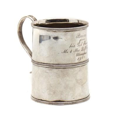 Lot 26 - A silver Christening mug