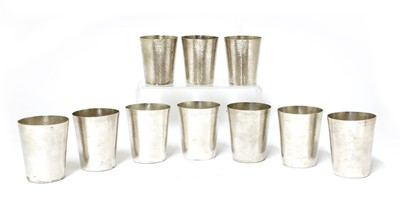 Lot 153 - A set of ten Chinese export silver vodka cups