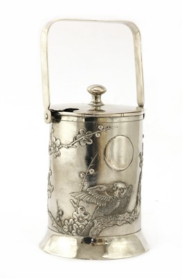 Lot 156 - A Chinese export silver preserve jar and cover
