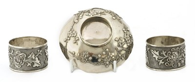 Lot 146 - A pair of Chinese export silver napkin rings
