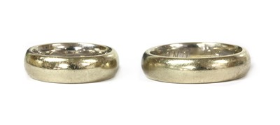 Lot 55 - A pair of white gold wedding rings