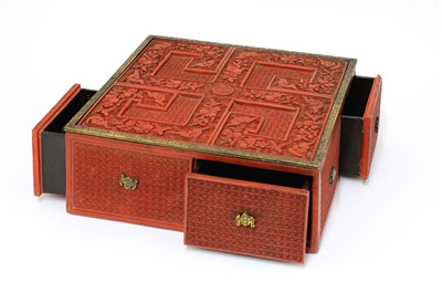 Lot 180 - A rare Chinese carved cinnabar lacquer treasure box