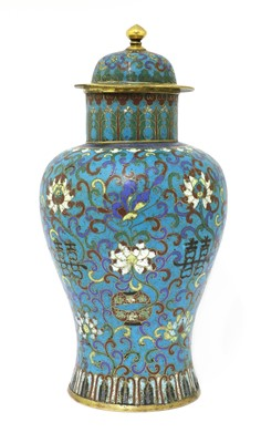 Lot 165 - A Chinese cloisonné vase and cover