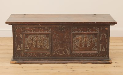 Lot 380 - An Italian carved cedarwood and penwork cassone