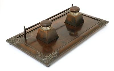 Lot 185 - A Chinese hardwood inkstand