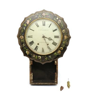 Lot 74 - A Victorian lacquered drop dial wall clock