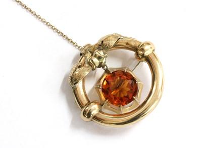 Lot 25 - A Victorian gold citrine brooch