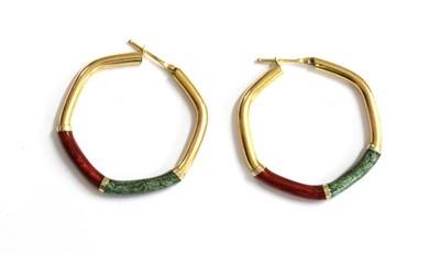 Lot 58 - A pair of 9ct gold hoop earrings