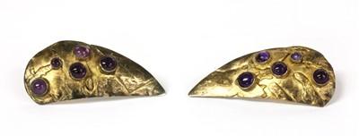 Lot 41 - A pair of sterling silver gilt amethyst earrings, by Eileen Coyne