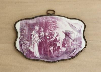 Lot 436 - A shaped enamel plaque