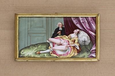 Lot 438 - A rectangular English enamel erotic plaque