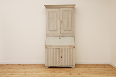 Lot 503 - A Swedish Gustavian painted bureau bookcase