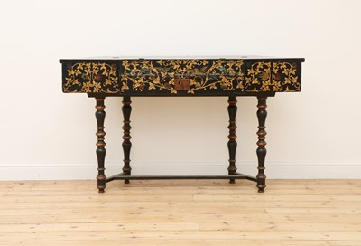 Lot 416 - An ebonised and parcel-gilt harpsichord case