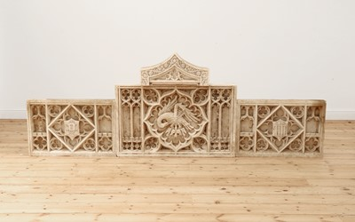 Lot 385 - A Gothic Revival carved alabaster triptych