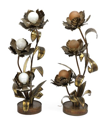 Lot 505 - A pair of cut metal table lamps