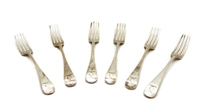 Lot 10 - A George III set of six silver Old English pattern table forks