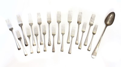 Lot 4 - Nine George III silver Old English pattern table forks
