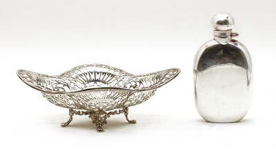Lot 57 - A silver hip flask