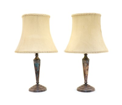 Lot 16 - A pair of Mappin & Webb 'Princes Plate' table lamps