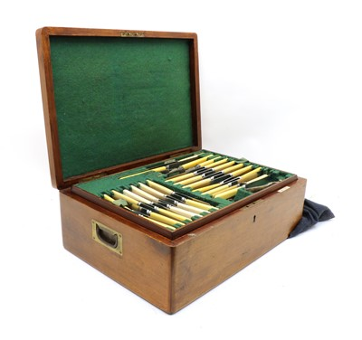 Lot 78 - A Walker & Hall mahogany cased canteen of silver plated cutlery