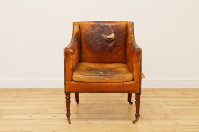 Lot 468 - A Regency buttoned-leather upholstered library armchair