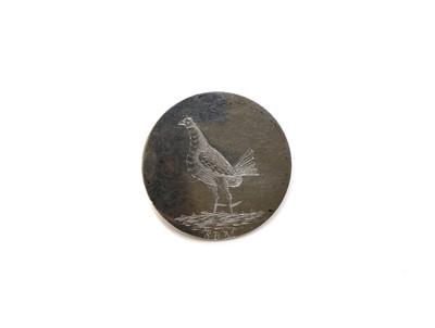 Lot 7 - A silver cockfighting button