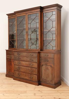 Lot 53 - A George III mahogany secretaire breakfront bookcase