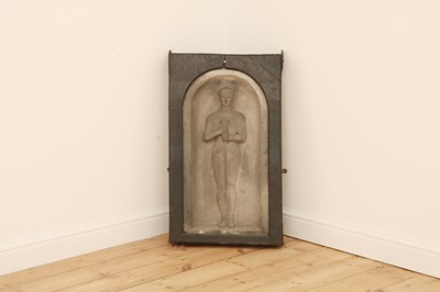 Lot 48 - A relief carved basalt panel or stele