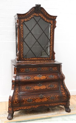 Lot 4 - A Dutch marquetry cabinet on chest