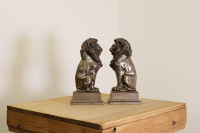 Lot 31 - A pair of steel fire irons in the form of lions