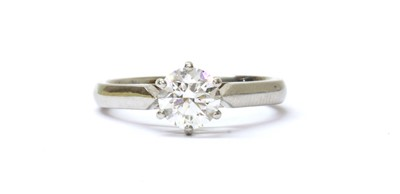 Lot 72 - A platinum single stone diamond ring