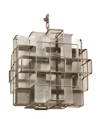 Lot 586 - A modern aluminium cube-form pendant light