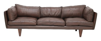 Lot 506 - A leather and rosewood 'Model V11' sofa, §