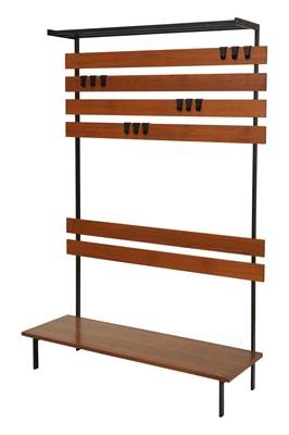 Lot 436 - A teak and metal modular coat rack