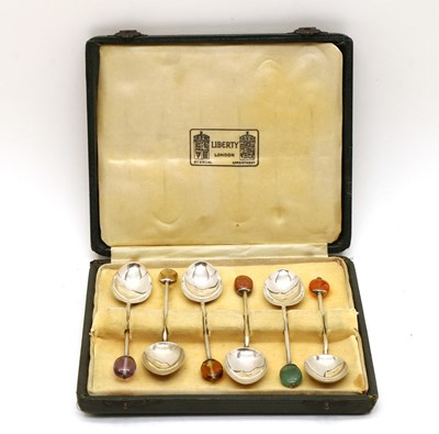 Lot 53 - A cased set of six Liberty & Co silver coffee spoons