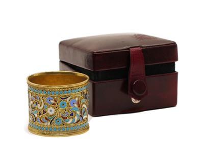 Lot 8 - A champleve napkin ring