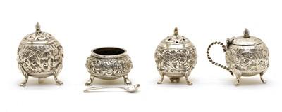 Lot 42 - A four-piece Indian silver cruet set